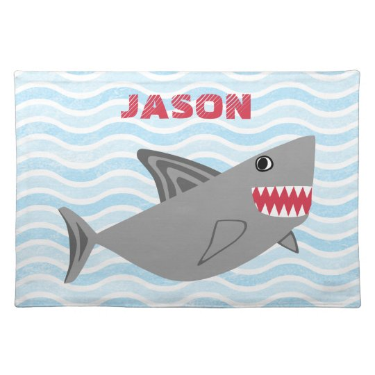 Personalised Cute Grey Shark Blue Waves Placemat