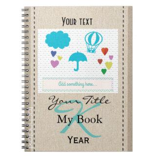 Personalised Cute Heart Rain Baby Kids Monogrammed Spiral Notebook
