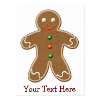 Personalised Cute Holiday Gingerbread Man Post Card