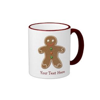 Personalised Cute Holiday Gingerbread Man Ringer Mug