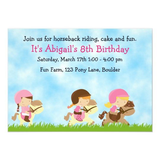 Personalised Cute Horseback Riding Girls Birthday Card