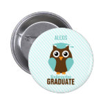 Personalised Cute Mint Owl Kindergarten Graduate 6 Cm Round Badge