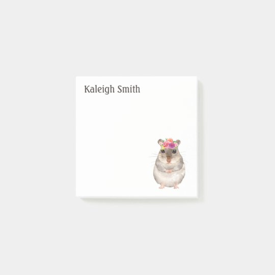 Personalised Cute Mouse / Rat Pink Purple Floral