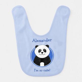 Personalised cute panda reversible blue bibs