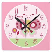 Personalised Cute Pink Butterfly Nursery Clock