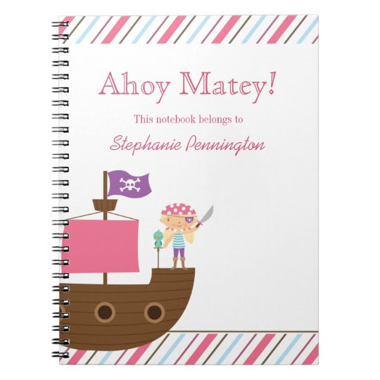 Personalised cute pink girl's pirate notebook