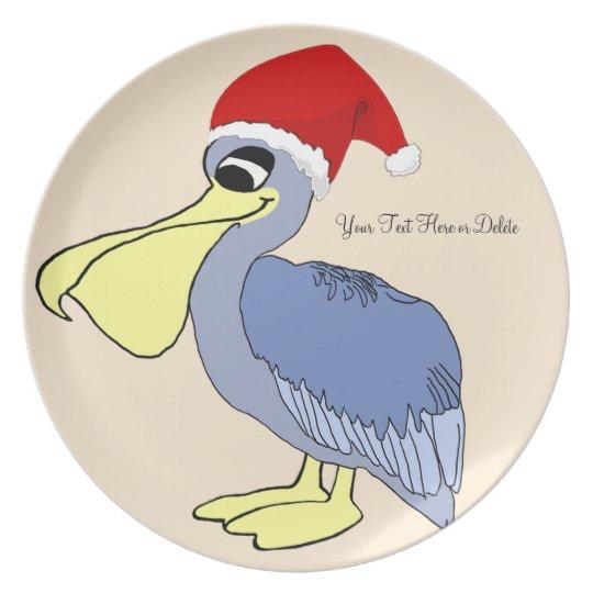 Personalised Cute Santa Pelican Plate
