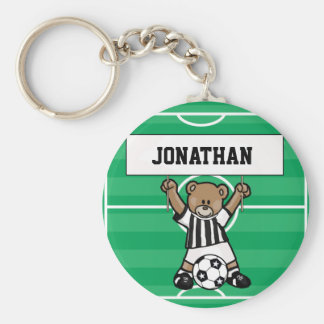 Personalised Cute Soccer Bear Party Favours Basic Round Button Key Ring