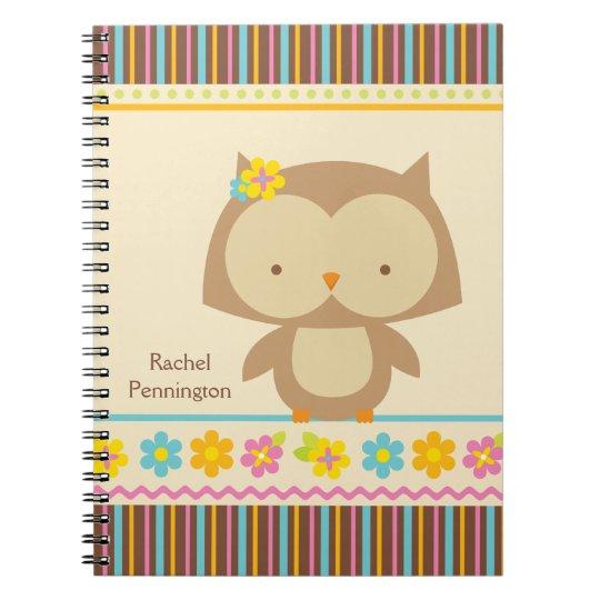 Personalised cute tropical owl girls notebook