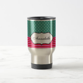 Personalised Cute White Polkadots Teal Pink Stripe Stainless Steel Travel Mug