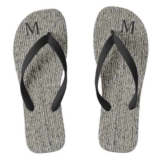 Personalised Cute Wool Grey Fabric Textured Flip Flops