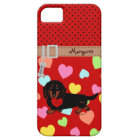 Personalised Dachshund Long Haired Black and Tan Case For The iPhone 5