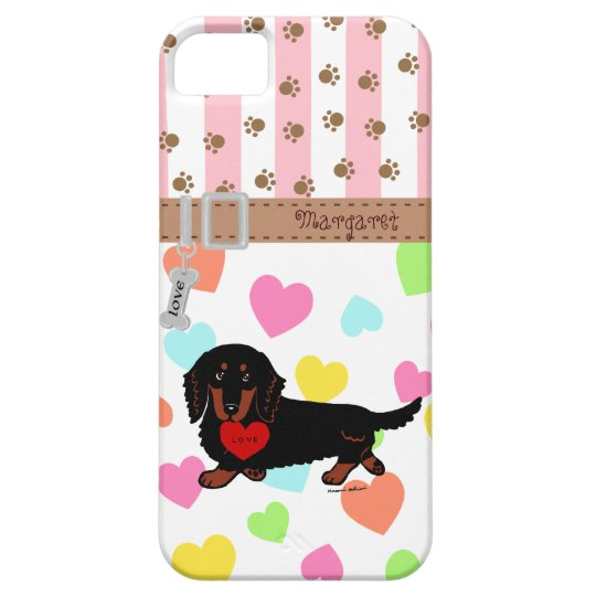 Personalised Dachshund Long Haired Black and Tan iPhone 5 Cases