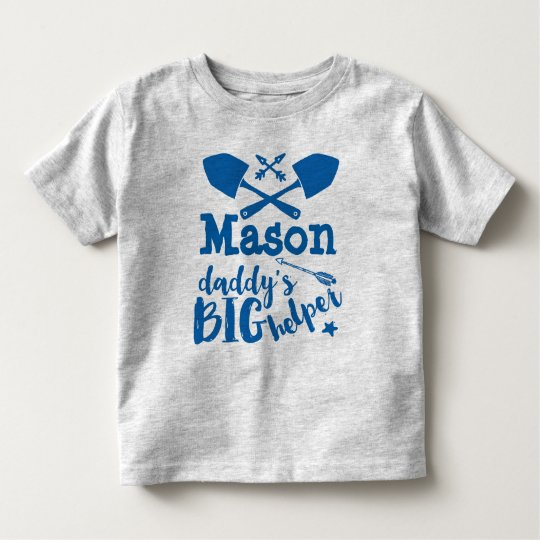 Personalised Daddy's Big Helper Blue and Grey Toddler T-Shirt