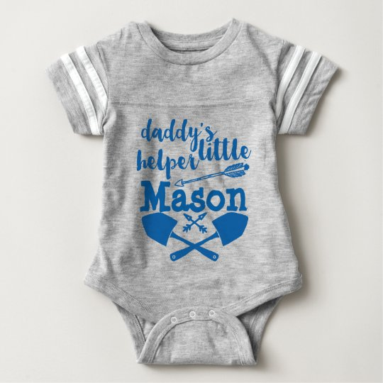 Personalised Daddy's Little Helper Blue and Grey Baby Bodysuit