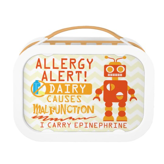 Personalised Dairy Allergy Orange Robot Snack Lunch Box