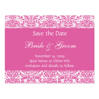 Personalised Damask Save the Date Post Card