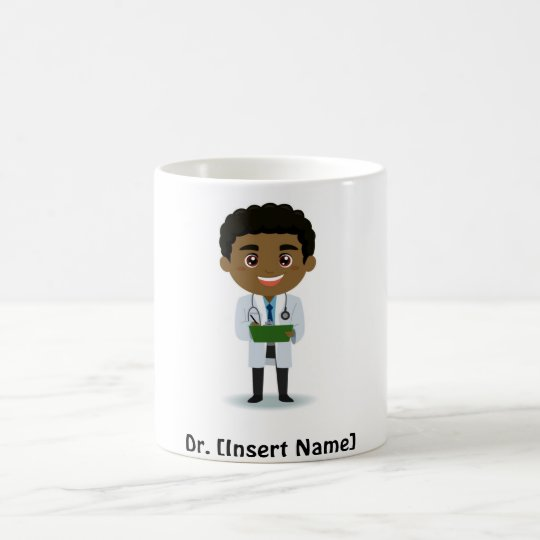 Personalised Dark Complexion Male Doctor Coffee Mug