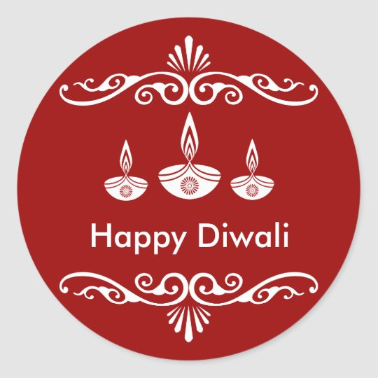 Personalised Decorative Diwali Design Classic Round Sticker