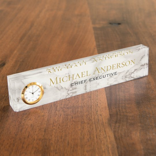 Personalised Desk NAME Plate White GREY MARBLE
