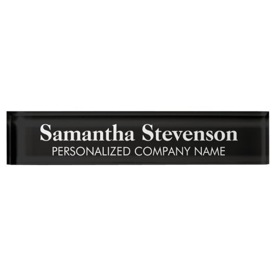 Personalised desk name plate with company title