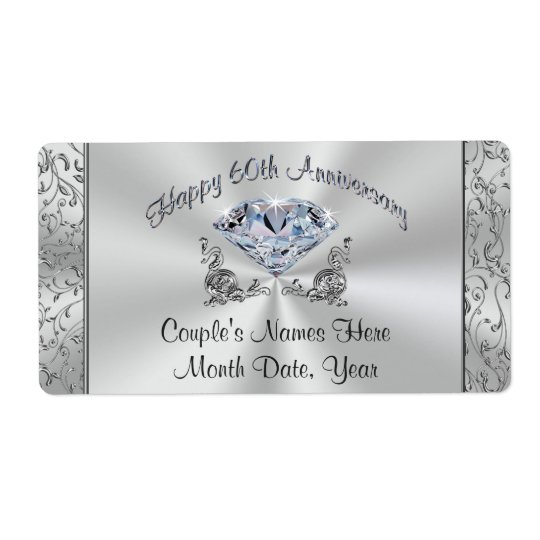 Personalised Diamond 60th Anniversary Party Labels