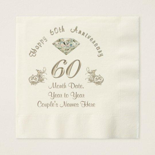 Personalised Diamond Wedding Anniversary Napkins Paper Napkins