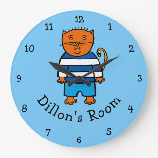 Personalised Dillon the Cat Large Clock