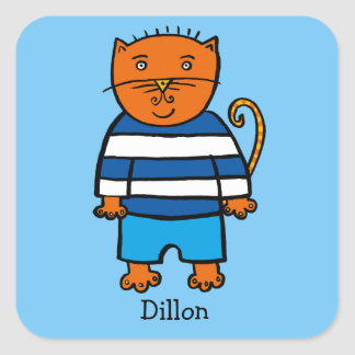 Personalised Dillon the Cat Square Sticker