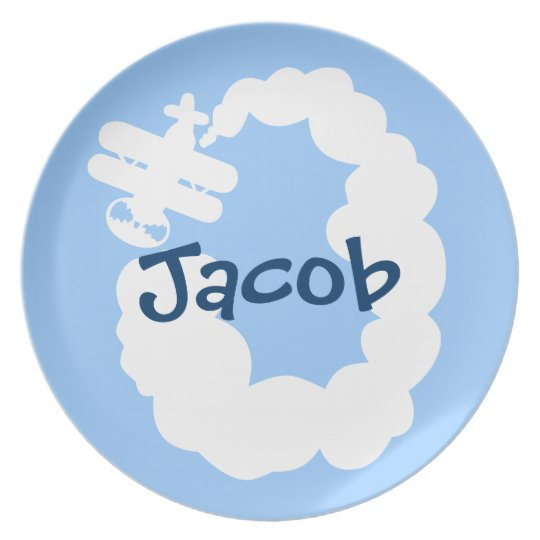 Personalised dinner plate for boy   Plane cartoon