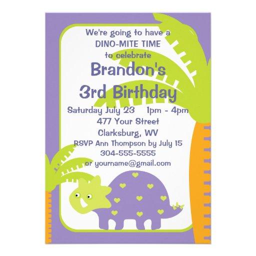 Personalised Dinosaur Birthday Party 13 Cm X 18 Cm