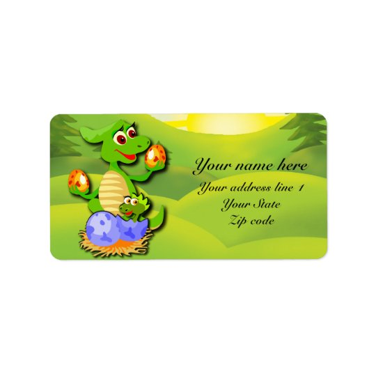 Personalised Dinosaur mother and baby cartoon Label
