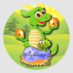 Personalised Dinosaur mother and baby cartoon Round Sticker