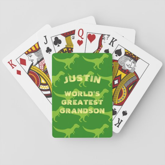 Personalised dinosaur playing cards for grandson