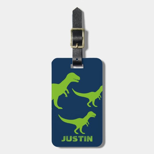 Personalised dinosaur travel luggage tag for kids