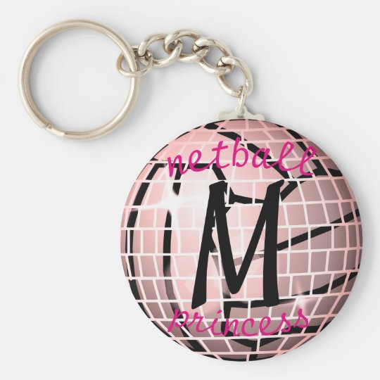 Personalised Disco Ball Design Netball Theme Key Ring