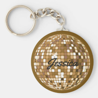 Personalised Disco Ball Keychain Brown