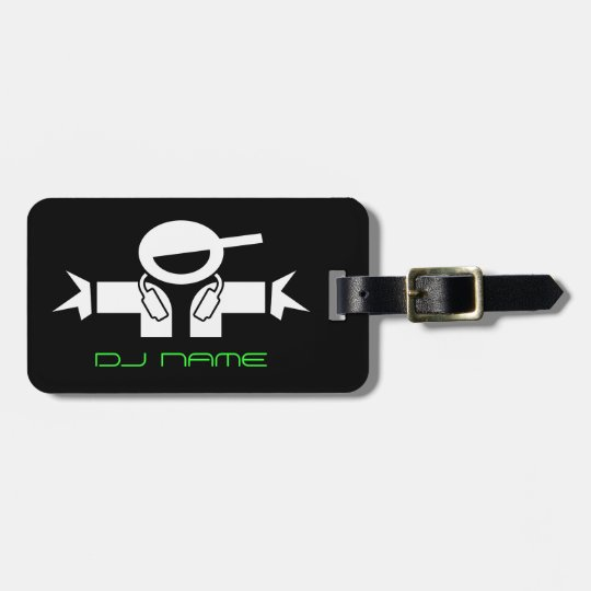 Personalised DJ name luggage tag for music deejay