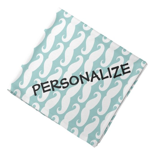 Personalised dog bandanna | Teal moustache print
