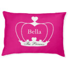 Personalised Dog Bed Crown with Hearts - Hot Pink