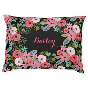 Personalised dog bed Floral pet bed Custom dog bed