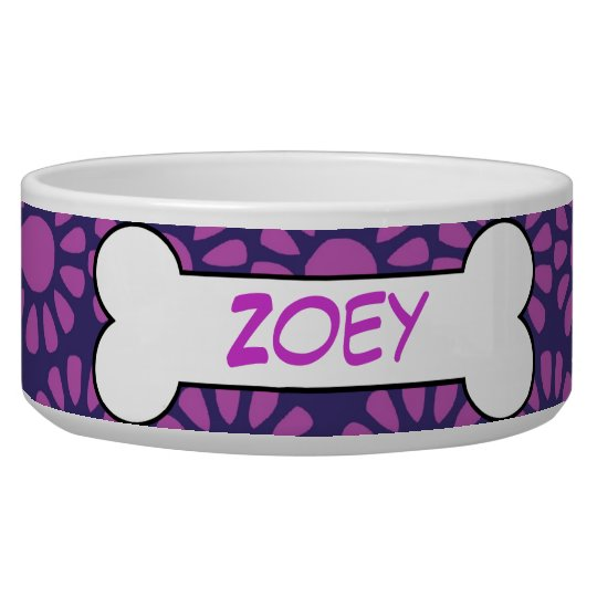 Personalised Dog Bone Ceramic Pet Bowl Purple