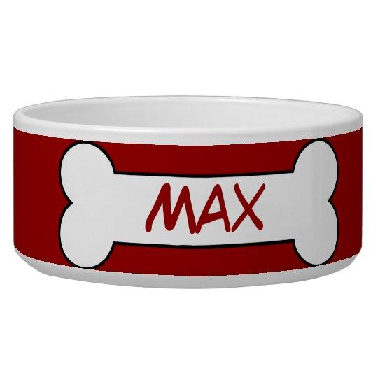 Personalised Dog Bone Ceramic Pet Bowl Red