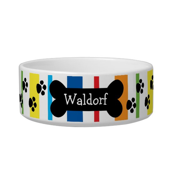 Personalised Dog Bowl With Paws and Bone