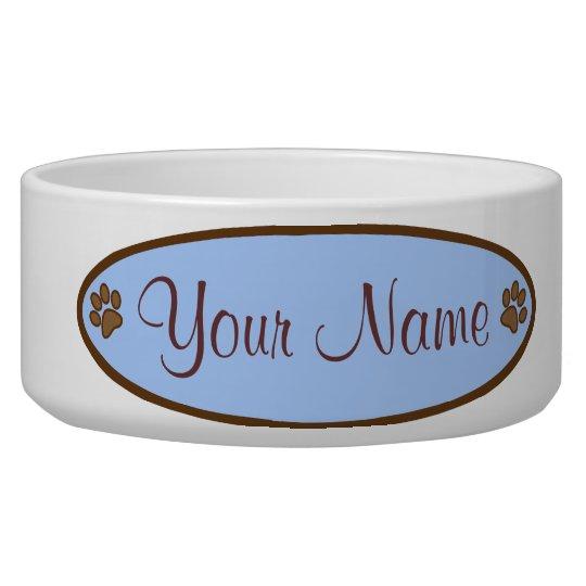 Personalised Dog Dish Blue Oval Paw Print Design