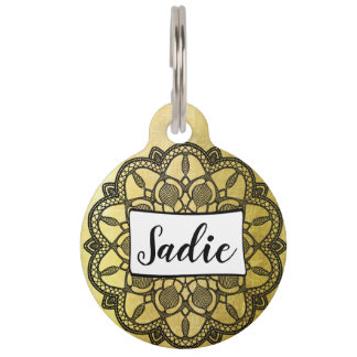 Personalized Dog Tags, Add name to Gold and Black
