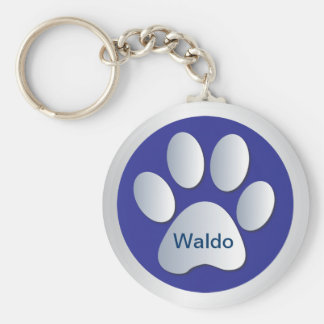 Personalised dogs name tag paw print keychain