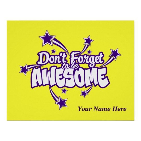 Personalised Don't Forget to Be Awesome Joy Poster