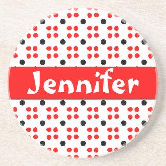 Personalised dotting pattern drink coasters