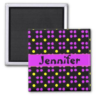 Personalised dotting pattern key-ring square magnet